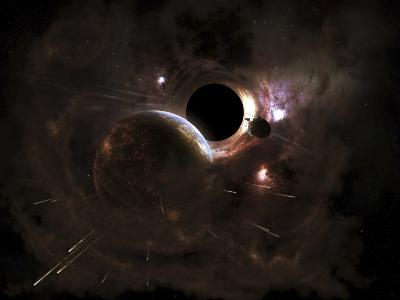 A Planet's Population Fleas in Panic from a Massive Black Hole-Stocktrek Images-Photographic Print