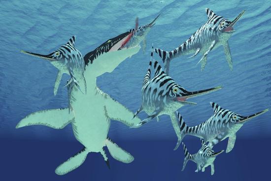 A Pod of Eurhinosaurus Marine Reptiles Try to Evade the Much Larger Liopleurodon-Stocktrek Images-Art Print