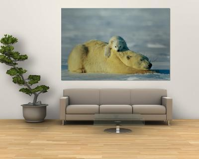 A Polar Bear Cub Rests Comfortably Atop the Back of His Mother-Norbert Rosing-Wall Mural