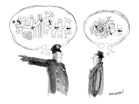 A policeman giving directions has a clear mental image of them, but the ma…  - New Yorker Cartoon' Premium Giclee Print - James Stevenson | Art.com