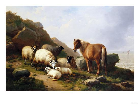 A Pony and Sheep on a Cliff with a Sailing Vessel Beyond, 1868-Alfred Thompson Bricher-Giclee Print