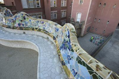A Portion of Park Guell, Designed by Antoni Gaudi, and Overlooking Residential Apartment Buildings-Michael Melford-Photographic Print