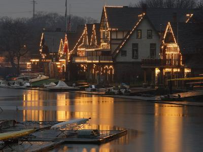 A Portion of Philadelphia's Boathouse Row is Shown at Dusk Thursday--Photographic Print