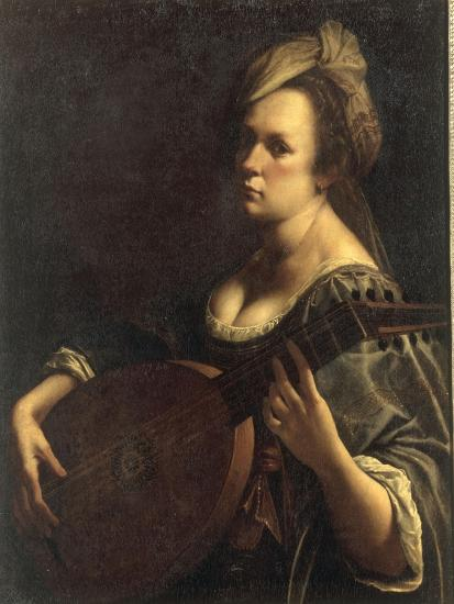 A Portrait of a Woman playing the Lute, possibly a Self-Portrait of the Artist, c.1615-Artemisia Gentileschi-Giclee Print