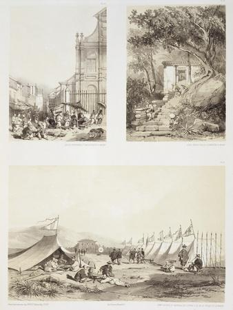 A Portuguese Church and a Chinese Street at Macao-Auguste Borget-Giclee Print