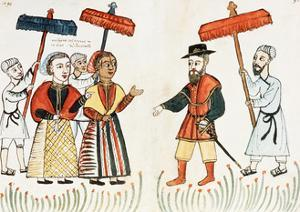 A Portuguese Merchant Being Greeted by His Indian Household, 16th, Biblioteca Casanatense, Rome