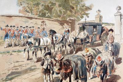 A Post-Chaise Entering a Walled Compound and Passing Between a Band and a Donkey Train, 1886-Armand Jean Heins-Giclee Print
