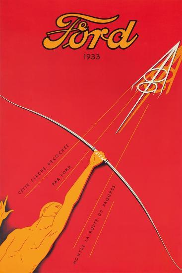 A Poster Advertising the Ford V8 Engine, 1933--Giclee Print