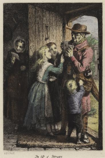 A Postman Delivering Mail to a House on Valentine's Day-George Bernard O'neill-Giclee Print
