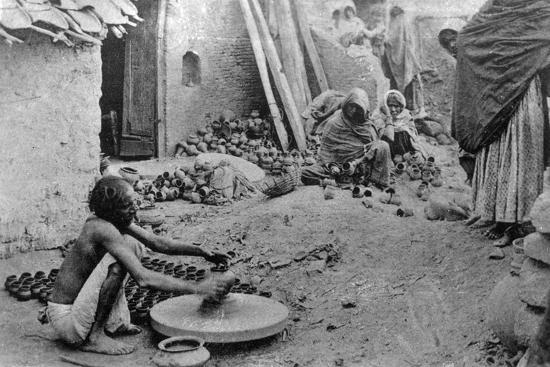 A Potter at Work, India, 20th Century--Giclee Print
