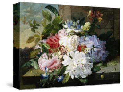 A Pretty Still Life of Roses, Rhododendron, and Passionflowers-John Wainwright-Stretched Canvas Print