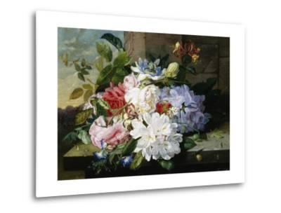 A Pretty Still Life of Roses, Rhododendron, and Passionflowers-John Wainwright-Metal Print