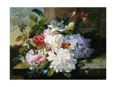 A Pretty Still Life of Roses, Rhododendron, and Passionflowers-John Wainwright-Giclee Print
