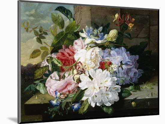 A Pretty Still Life of Roses, Rhododendron, and Passionflowers-John Wainwright-Mounted Giclee Print