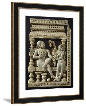 A Prince and a Maid, a Door Panel Decorated in Relief, from Tamil Nadu, India--Framed Giclee Print