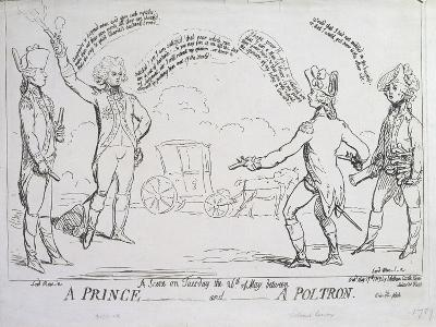 A Prince and a Poltron, Published by J. Aitken in 1789--Giclee Print