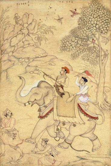A Prince Hunting, Mounted on an Elephant, C.1600-1650 (Drawing with W/C and Gold Paint)--Giclee Print