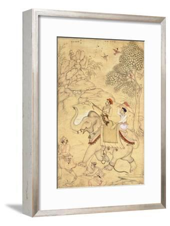 A Prince Hunting, Mounted on an Elephant, C.1600-1650 (Drawing with W/C and Gold Paint)
