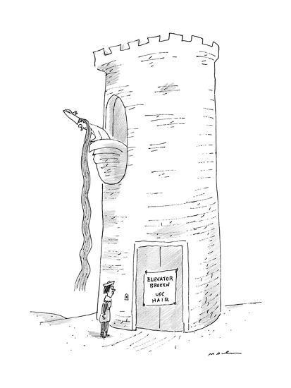 A prince reads that Rapunzel's tower's elevator is broken. - New Yorker Cartoon-Michael Maslin-Premium Giclee Print