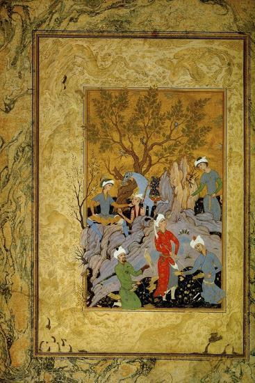 A Princely Hawking Party in the Mountains, C1575-Mirza Ali-Giclee Print