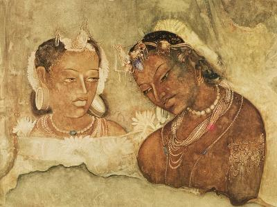A Princess and Her Servant, Copy of a Fresco from the Ajanta Caves, India--Giclee Print