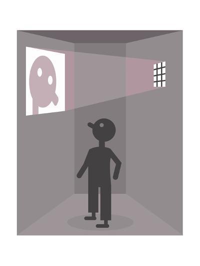 A prisoner sees his reflection - Cartoon-Christoph Niemann-Premium Giclee Print