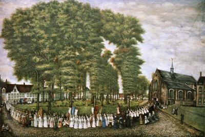 A Procession in Bruges at the End of the 19th Century,' 19th Century--Giclee Print