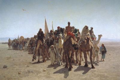 A Procession of Pilgrims on their Way to Mecca, 1861-L?on Adolphe Auguste Belly-Giclee Print