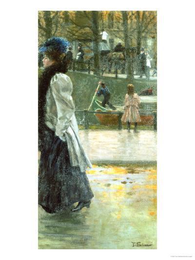 A Promenade by the Canal-Franz Skarbina-Giclee Print