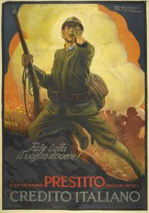 A Propaganda Poster Depicting an Italian (?) Soldier, Pointing