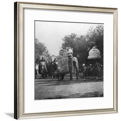 A Punjabi Princess in an Elephant Procession, Delhi, India, 1900s- H & Son Hands-Framed Giclee Print