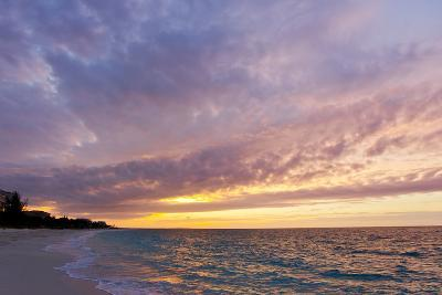 A Purple and Pink Sky at Sunset over Grace Bay and the Beach-Mike Theiss-Photographic Print