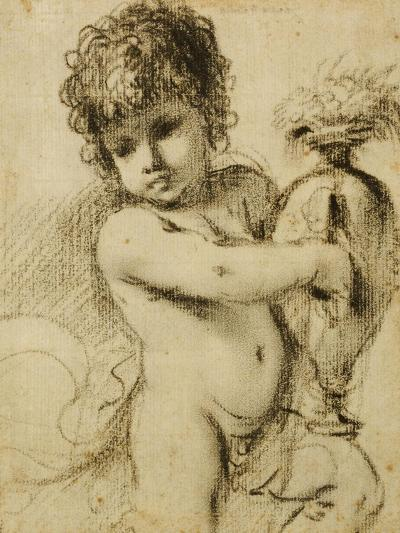A Putto with a Vase-Guercino (Giovanni Francesco Barbieri)-Giclee Print