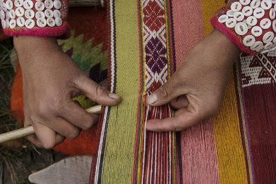 A Quechua Woman Weaves on an Andean Backstrap Loom-Beth Wald-Photographic Print