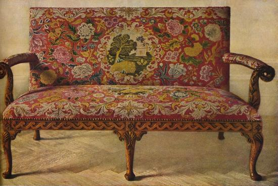 'A Queen Anne Settee Upholstered in Petit Point', c1900, (1936)-Unknown-Giclee Print
