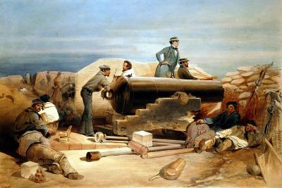 A Quiet Day in the Diamond Battery - Portrait of a Lancaster 68-Pounder, Crimean War 1855-1856-William Simpson-Giclee Print