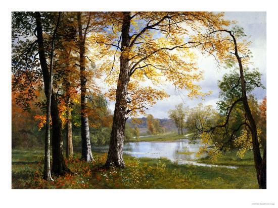 A Quiet Lake-Albert Bierstadt-Giclee Print