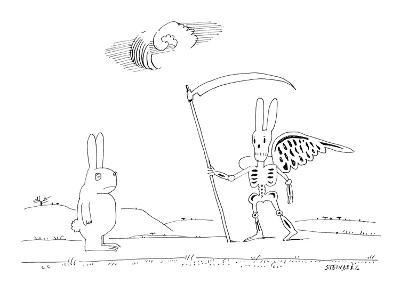 A rabbit walking upright down a road sees death as a rabbit skeleton with ? - New Yorker Cartoon-Saul Steinberg-Premium Giclee Print