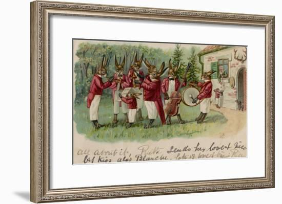 A Rabbits' Musical Ensemble Serenade a Human in His House--Framed Giclee Print