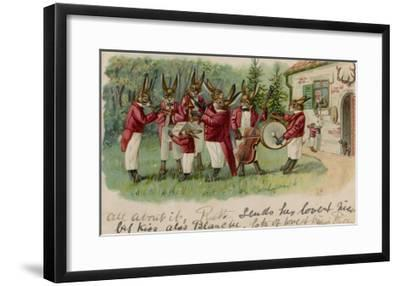 A Rabbits' Musical Ensemble Serenade a Human in His House--Framed Giclee Print