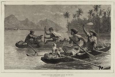 A Race to the Market, Tahiti, Society Islands--Giclee Print