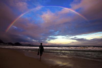 A Rainbow over Copacabana Beach in Rio De Janeiro-Chris Bickford-Photographic Print