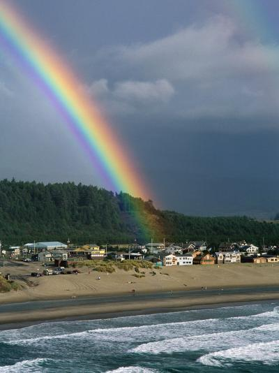 A Rainbow over Pacific City-Phil Schermeister-Photographic Print