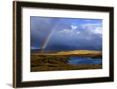 A Rainbow Touches Down at Roundstone Bog and the Twelve Pins in Connemara, Ireland-Chris Hill-Framed Photographic Print
