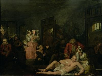 A Rake's Progress VIII: the Rake in Bedlam, 1733-William Hogarth-Giclee Print