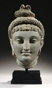 A Rare Gandhara Schist Head of Probably Hariti, 2nd / 3rd Century
