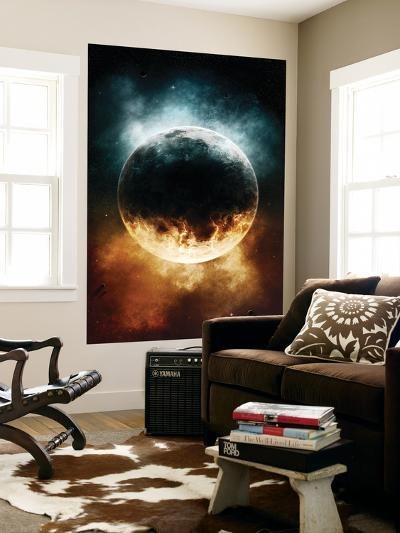 A Rare Planet Surrounded by a Cloud of Plasmatic Nitrogen and Flames-Stocktrek Images-Wall Mural