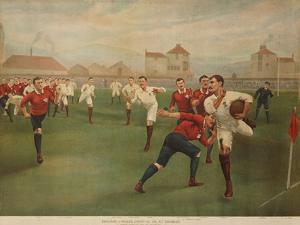 A Rare Print of England V. Wales. January 5th 1895 at Swansea