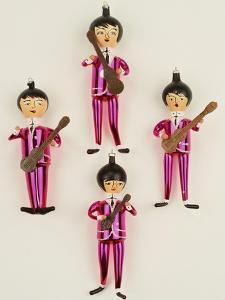 A Rare Set of Four Blown Glass Christmas Tree Decorations Modelled as the Beatles