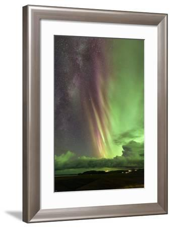 A Rare Sight of the Milky Way and Colorful Aurora Borealis, the Northern Lights-Babak Tafreshi-Framed Photographic Print